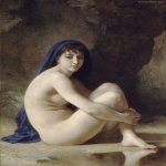 William Bouguereau (1825-1905)  Baigneuse Accroupie [Seated Bather]  Oil on canvas, 1884  45 3/4 x 35 inches (116.5 x 89 cm)  Sterling and Francine Clark Art Institute, Williamstown